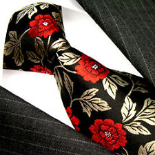 84244  LORENZO CANA Authentic Italian Tradition 100% Silk Neck Tie Red Rose