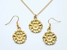 Tudor Rose Necklace and Earrings Set, Gold Plated English Pewter, Gift Boxed