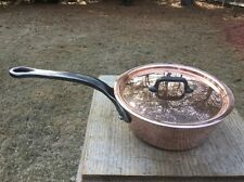 """Vintage 2.2mm Bourgeat Matfer 6.5"""" Copper Splayed Saute Pan W/Lid S S Lined"""