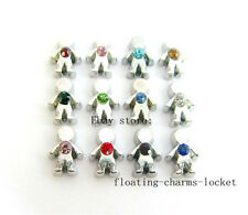 12pcs wholesale Birthstone Boy Floating Charms Fits Living  Lockets FC431