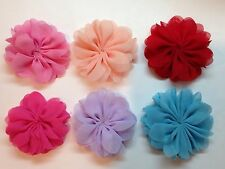 """Wholesale 6 Pcs 3"""" Chiffon Flowers No Clips Baby Girl Hair Bow Supplies."""