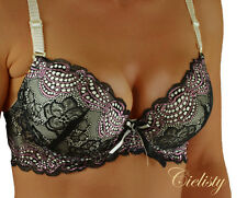 Underwired Bra Full Cup Black/Nude Size 34C