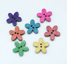 "60 Wood Sewing Buttons Scrapbooking Flower 2 Holes Mixed 20x19mm(6/8""x 6/8"") Y01"