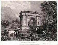 AOSTA: Arco d'Augusto. Valle d'Aosta. ACCIAIO. Stampa Antica. Certificato. 1832