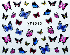 Red Pink Blue Mix Butterfly Water Transfer Nail Art Stickers Decals  Decoration
