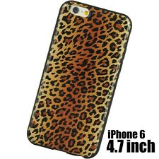 For iPhone 6 / 6S - HARD TPU RUBBER GUMMY SKIN CASE BROWN BLACK LEOPARD CHEETAH