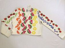 NWT Vtg 1996 Michael Simon L White Pop Art Fruit Sweater Orange Watermelon READ