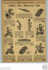1948 PAPER AD Mechanical Toy Clown Drummer Motor Boat Cyclist Soap Box Derby