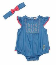 JUICY COUTURE BABY GIRL EMBROIDERED DENIM BODYSUIT WITH HEADBAND. SZ 3-6M