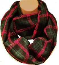The Tartan Green Black & Red Scarf  Circle Loop Infinity Snood - Winter Weight