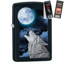 Zippo 28879 wolf howling at moon Lighter with *FLINT & WICK GIFT SET*