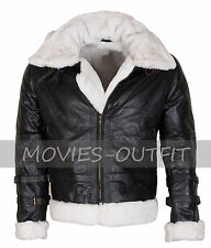 Mens B3 Aviator Ginger Fur Lined Winters Warm Hooded Black Bomber Leather Jacket