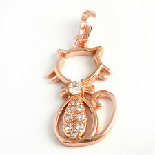 Animal Cat  9K Real Gold Filled Flawless CZ Womens  Pendants Fit Chain Necklace