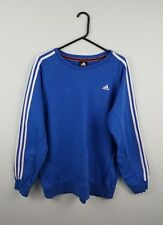 VTG RETRO MENS BLUE ADIDAS ATHLETIC SPORTS OVERHEAD SWEATSHIRT JUMPER VGC UK L