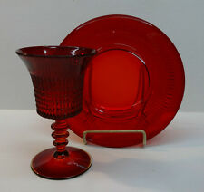 """Fenton Red Lincoln Inn Water Goblet and 8"""" Plate"""