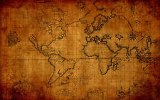 A3 Poster – Vintage Brown World Map (Picture Globe Atlas Print Cartography Art)