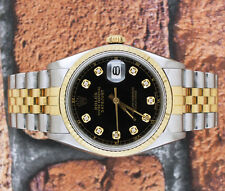 MINT Condition Gents Black Diamond Dial Steel & 18ct Yellow Gold Rolex Datejust.