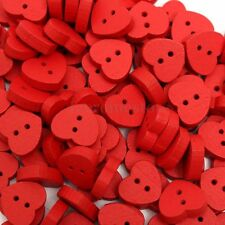 100pcs Red Love Heart Handmade 2 Holes Wooden Buttons Sewing Scrapbooking DIY