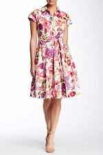 Eliza J Short Sleeve Floral Print Fit & Flare Stretch Dress in Pink Size 12 NEW
