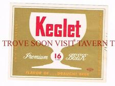 Unused 1950s Esslinger Keglet 16oz Beer label Tavern Trove Pennsylvania