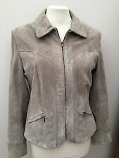 Light Olive Green Suede Leather Jacket With Zip Front And Collar - Size 12