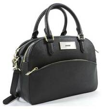 WOMEN'S DKNY BLACK DOUBLE ZIPPER SAFFIANO LEATHER CONVERTIBLE SATCHEL PURSE NEW