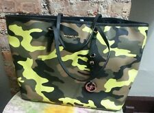 NWT  Michael Kors  Jet Set Travel ACID YELLOW Camo  Medium Tote Handbag