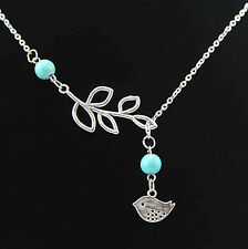 NEW Beautiful Leaf & Bird Necklace With Turquoise Beads, UK Seller