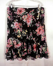 NWT new Chaps colorful Floral A-Line Skirt layered chiffon black/pink SZ XL