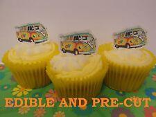 X24 Vw Camper Van, Retro Hippy Oblea de papel plana Cup Cake Toppers Precortada