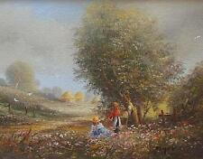 Fine Ted Dyer Original Oil Painting - Rural Countryside Landscape With Children