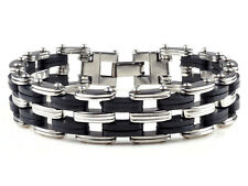 Top Quality Rubber Mens Stainless Steel Chain Bracelet link Bangle wristband ZY
