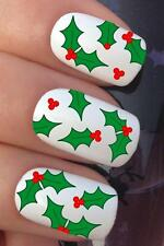 CHRISTMAS NAIL ART SET #776 HOLLY SPRIGS BERRIES WATER TRANSFERS DECALS STICKERS