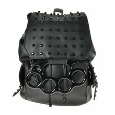 VIXXSIN BACKSTREET BAG BLACK RUCKSACK STUDS KNUCKLE DUSTER GOTHIC POIZEN CLUB