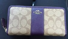 NWT Women's COACH Accordion Zip Wallet in SIG Leather F54630 Khaki/Aubergine