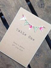Handmade personnalisé de table de mariage chiffres/noms bunting vintage rustique
