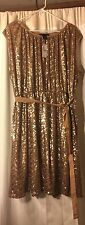 NEW LANE BRYANT PLUS SIZE GOLD SEQUIN TIE WAIST DRESS SZ 18/20 FORMAL