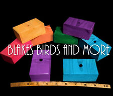 """6 EXTRA -LARGE Colored 3-1/2"""" Wood Blocks Parrot Bird Toy Parts - 3/8'' Hole"""