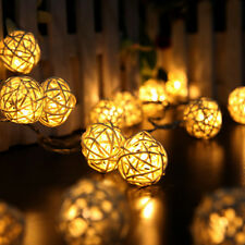 Wedding Party Home Garden 20 LED Rattan Ball String Lights Fairy Lamp Xmas Decor