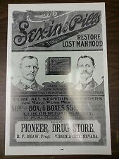 "12 By 18"" Black & White Picture Virginia City Pioneer Drug Store Sex-ine Pills"