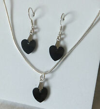 BLACK JET CRYSTAL 10mm HEART pendant and earrings set 18 inch 925 silver chain