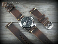 Cinturino Pelle CUOIO VINTAGE LARGE 24 mm Watch Strap Band Marrone scuro