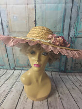 Amazing Large  Vintage Ladies Summer Straw Hat With Flowers And Lace Trim