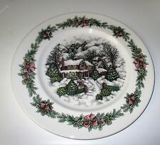 Royal Stafford Christmas Valley House Cottage Platter NWT