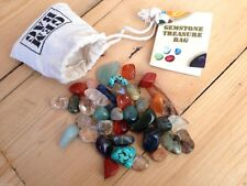 CRYSTAL GEMSTONE TUMBLESTONE TREASURE POUCH HEALING GEOLOGY NEW AGE PAGAN WICCA