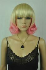 Hot Women Blonde & Pink Mix Wavy Synthetic Daily Cosplay Short  Hair Full Wig