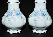 ROYAL ALBERT BLUE BLOSSOM SALT & PEPPER SHAKERS MTCH INSPIRATION & LAVENDER ROSE