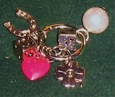 Lucky Clover Shamrock Horseshoe Red Heart Rhinestone Dice Charm Key Ring Chain