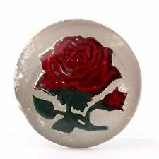 (1) 27mm Antique Czech intaglio painted rose flower mirrored art glass cabochon