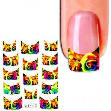 J373 NAGELSTICKER bunte ROSEN Regenbogen Farben FRENCH STYLE watertransfer Finge